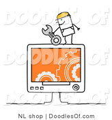Vector Clipart of a Stick Figure Person Man Computer Repair Technician by NL Shop
