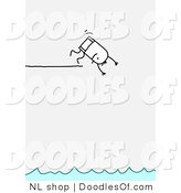 Vector Clipart of a Stick Figure Person Man Diving off of a Ledge by NL Shop