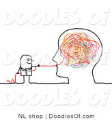 Vector Clipart of a Stick Figure Person Man Doctor Pulling Strings from a Brain by NL Shop