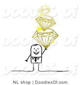 Vector Clipart of a Stick Figure Person Man Holding a Pile of Diamonds by NL Shop