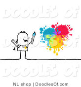 Vector Clipart of a Stick Figure Person Man Painting Splatters by NL Shop