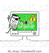 Vector Clipart of a Stick Figure Person Man Pirate Emerging from a Computer by NL Shop