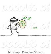 Vector Clipart of a Stick Figure Person Man Robber Carrying a Bag of Money by NL Shop