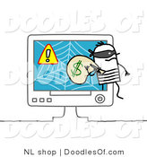 Vector Clipart of a Stick Figure Person Man Robber Stealing Money from an Online Scam by NL Shop