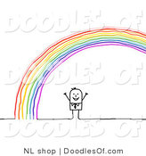 Vector Clipart of a Stick Figure Person Man Standing Under an Arched Rainbow by NL Shop