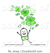 Vector Clipart of a Stick Figure Person Man Under Money, Hearts and Shamrocks by NL Shop