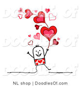 Vector Clipart of a Stick Figure Person Man Under Valentines Day Hearts by NL Shop