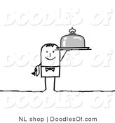 Vector Clipart of a Stick Figure Person Man Waiter Holding a Platter by NL Shop