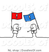 Vector Clipart of a Stick Figure Person Men Arguing with Flags by NL Shop