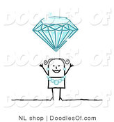 Vector Clipart of a Stick Figure Person Woman Wearing a Diamond Necklace and Earrings Under a Huge Diamond by NL Shop