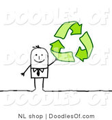Vector Clipart of a Stick Person Business Man Holding up Green Recycle Arrows by NL Shop