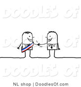 Vector Clipart of a Stick Person Business Man Shaking Hands with a Colleague Competitor by NL Shop