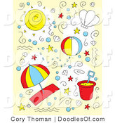 Vector Clipart of a Summer Collage of Doodled Summer and Beach Items by Cory Thoman