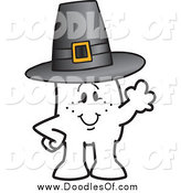Vector Clipart of a Thanksgiving Doodle Guy Wearing a Pilgrim Hat by Toons4Biz