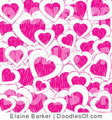 Vector Clipart of a Valentine's Day Background of Pink Doodle Hearts on White by Elaineitalia