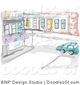 Vector Clipart of a Watercolor and Sketched City Street and Store Scene, a Car Driving past by BNP Design Studio