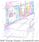 Vector Clipart of a Watercolor and Sketched Mall Window Display Scene for Window Shoppers by BNP Design Studio