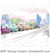 Vector Clipart of a Watercolor and Sketched Parking Lot Scene with Colorful Cars by BNP Design Studio