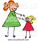 Vector Clipart of a White Blond Girl Reaching up to Her Mom by Prawny