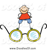 Vector Clipart of a White Doodled Boy Standing on Glasses by Prawny