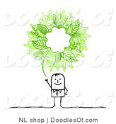 Vector Clipart of an Eco Friendly Stick Person Business Man with a Green Ecology Scribble Thought Balloon by NL Shop