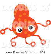 Vector Clipart of an Orange Germ Doodle with Tentacles by Prawny