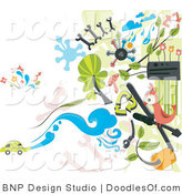 Vector Clipart of Auto Doodles on White by BNP Design Studio
