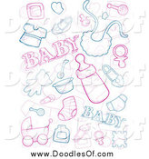 Vector Clipart of Baby Doodles by BNP Design Studio
