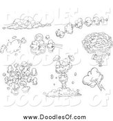 Vector Clipart of Black and White Doodled Comic Explosions by Yayayoyo