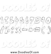 August 20th, 2014: Vector Clipart of Black and White Doodled Numbers and Math Symbols by Yayayoyo