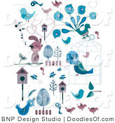 Vector Clipart of Blue and Pink Bird Doodles by BNP Design Studio