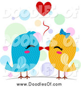 Vector Clipart of Doodled Blue and Yellow Kissing Love Birds by BNP Design Studio