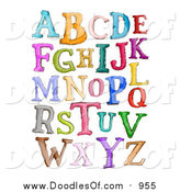 Vector Clipart of Doodled Capital Sketched Letters in Different Colors by BNP Design Studio