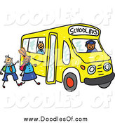 Vector Clipart of Doodled Children Boarding a School Bus by Prawny
