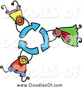Vector Clipart of Doodled Children Holding on to Recycle Arrows by Prawny
