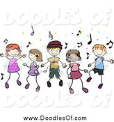Vector Clipart of Doodled Diverse Children Dancing to Music by BNP Design Studio