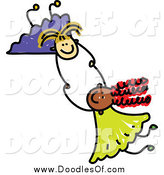 Vector Clipart of Doodled Girls Holding Hands and Fallin by Prawny
