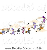 Vector Clipart of Doodled Halloween Kids and Flying Witches by BNP Design Studio