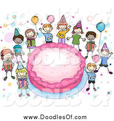 Vector Clipart of Doodled Kids Around a Giant Pink Birthday Cake by BNP Design Studio
