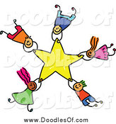Vector Clipart of Doodled Kids Falling with a Star by Prawny