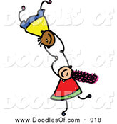 Vector Clipart of Doodled Kids Holding Hands While Falling by Prawny