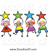 Vector Clipart of Doodled Kids Holding Stars by Prawny