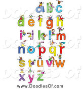 Vector Clipart of Doodled Kids Playing on Letters by Prawny