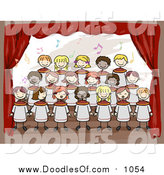 Vector Clipart of Doodled Kids Singing in a School Choir by BNP Design Studio