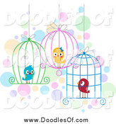 Vector Clipart of Doodled Love Birds in Wire Cages by BNP Design Studio