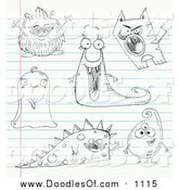 Vector Clipart of Doodled Monsters on Ruled Paper by Yayayoyo
