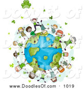 Vector Clipart of Doodled St Patricks Day Kids with Clovers on a Globe by BNP Design Studio