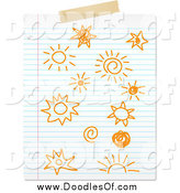 Vector Clipart of Doodled Suns on Paper by KJ Pargeter