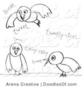 Vector Clipart of Doodled Talking Birds by Arena Creative