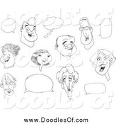 Vector Clipart of Doodles of Faces and Word Balloons by Yayayoyo